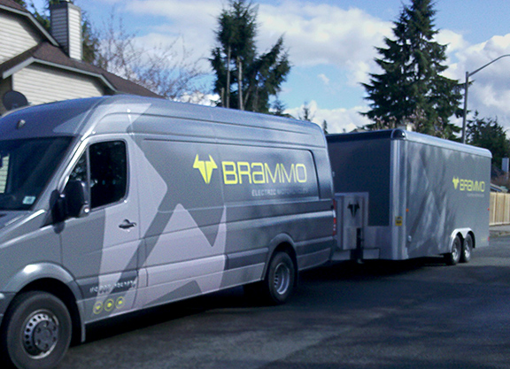 Brammo electric motorcycle manufacturer delivery van
