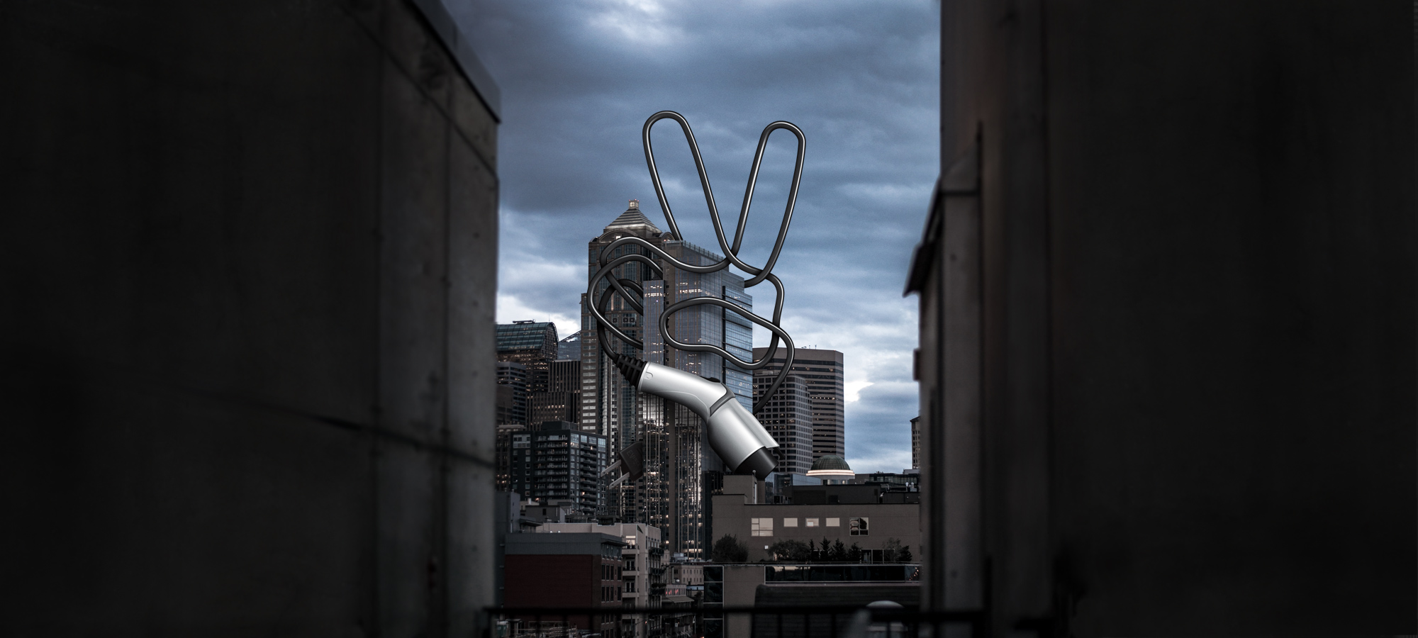 Seattle cityscape with EV charging cable peace sign design